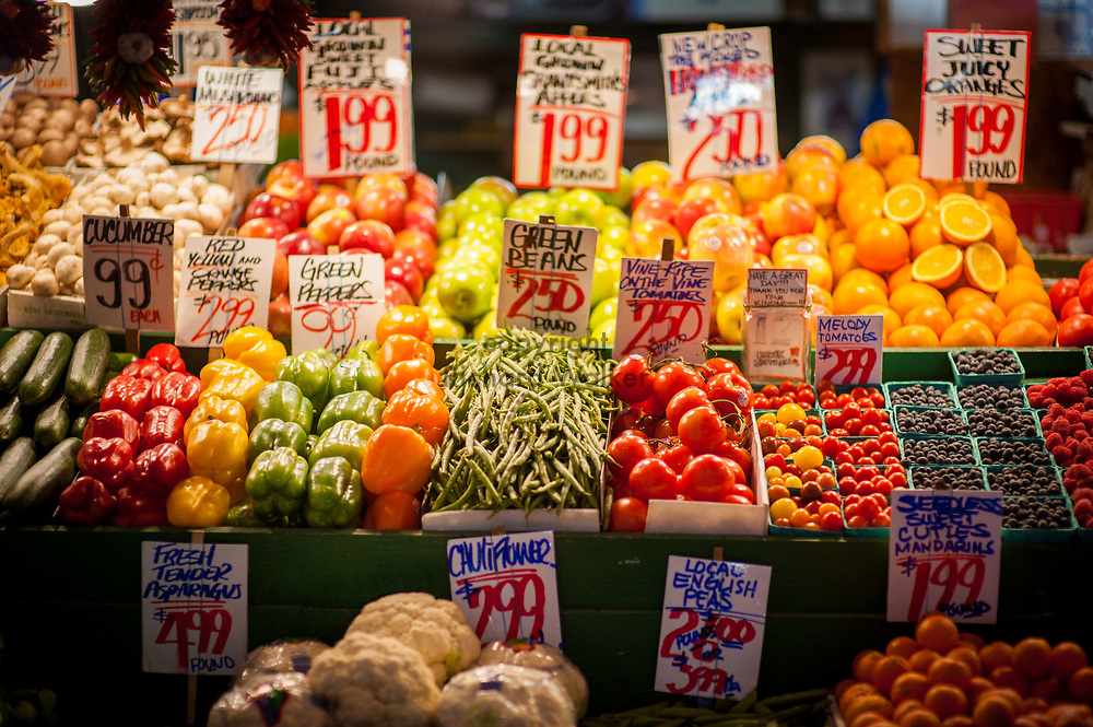 2017 DECEMBER 05 - Fresh fruits and vegetables for sale at Pike Place Market, Seattle, WA, USA. By Richard Walker