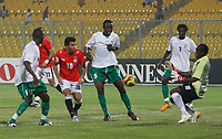 Photo: Steve Bond/Richard Lane Photography.<br />Egypt v Zambia. Africa Cup of Nations. 30/01/2008. Keeper Kennedy Mweene, blocks a shot by Emad Motaeb (10)