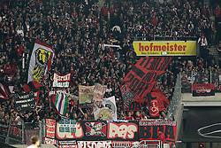 25.10.2013, Mercedes Benz Arena, Stuttgart, GEr, 1. FBL, VfB Stuttgart vs 1.FC Nuernberg, Fussball, 1.Bundesliga, 25.10.2013, 10. Runde, im Bild Nuernberg schwenken Ihre Fahnen im Block // during the German Bundesliga 10th round match between VfB Stuttgart and 1. FC Nuernberg at the Mercedes Benz Arena in Stuttgart, Germany on 2013/10/26. EXPA Pictures © 2013, PhotoCredit: EXPA/ Eibner-Pressefoto/ Langer<br /> <br /> *****ATTENTION - OUT of GER*****
