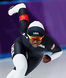 February 18, 2018 - Gangneung, South Korea - Speed skater ERIN JACKSON of the USA competes during the Ladies Speed Skating 500M finals at the PyeongChang 2018 Winter Olympic Games at Gangneung Oval. (Credit Image: © Paul Kitagaki Jr. via ZUMA Wire)