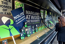 "© Licensed to London News Pictures. 10/09/2019. LONDON, UK.  Copies of ""The Testaments"", the new book by author Margaret Atwood, are displayed at bookshop in Piccadilly.  ""The Testaments"", released today, is the follow-up to the successful ""The Handmaid's Tale"" and is already reported as being a candidate for the Booker Prize.  Photo credit: Stephen Chung/LNP"