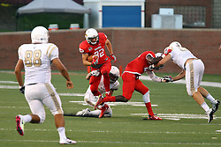03 September 2016:  Anthony Warrum travesl up the field jumping over his own blocker to get more yards. NCAA FCS Football game between Valparaiso Crusaders and Illinois State Redbirds at Hancock Stadium in Normal IL (Photo by Alan Look)