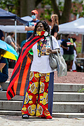 Wilkes-Barre, PA (July 11, 2020) -- Wilkes-Barre business owner Carmen Tinson listens to a speaker at the Black Lives Matter NEPA United Movement event at Wilkes-Barre Public Square.