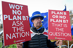 © Licensed to London News Pictures. 22/01/2019. LONDON, UK.  Steve Bray of SODEM (Stand of Defiance European Movement) protests against Brexit outside the Houses of Parliament.  Theresa May, Prime Minister, has indicated that she will be offering compromises to try and persuade MPs to support her Brexit deal,  but at the same time says that she is against a second referendum or delaying the date of exiting the European Union beyond 29 March.  MPs are due to vote on an amended deal on 29 January.  Photo credit: Stephen Chung/LNP