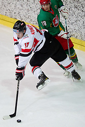 Konstantin Komarek of Austria and Laisvydas Rimkus of Lithuania  during the ice hockey match between National teams of Lithuania (LTU) and Austria (AUT) at 2011 IIHF World U20 Championship Division I - Group B, on December 12, 2010 in Ice skating Arena, Bled, Slovenia.  (Photo By Vid Ponikvar / Sportida.com)