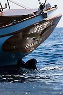 "29SEP09 Les Voiles De St Tropez 2009..The stern of the Hinckley/Herreshoff build ""Tioga""."