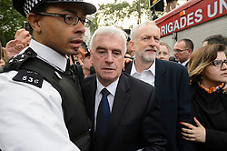 © Licensed to London News Pictures. 27/06/2016. British Labour party leader JEREMY CORBYN and Shadow Chancellor of the Exchequer JOHN MCDONNELL attend at rally in Parliament Square organised by the Momentum organisation to keep him as Labour party leader after the EU Referendum. Photo credit: London News Pictures