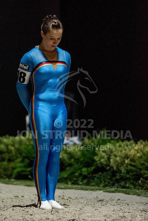 Corinna Knauf, (GER), Fabiola W, Alexandra Knauf - Individuals Women Compulsory Vaulting - Alltech FEI World Equestrian Games™ 2014 - Normandy, France.<br /> © Hippo Foto Team - Jon Stroud<br /> 02/09/2014