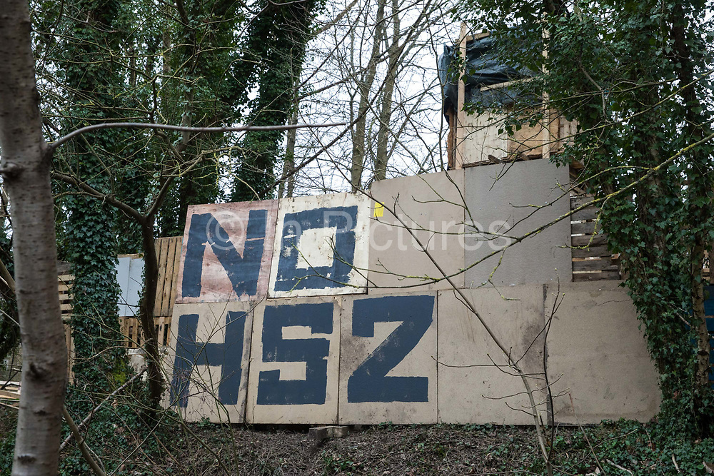 A section of Stop HS2's Wendover Active Resistance Camp in woodland threatened by the HS2 high-speed rail link project is pictured on 18th March 2021 in Wendover, United Kingdom. Activists have set up several such camps along the Phase One route of the £106bn rail link between London and Birmingham.
