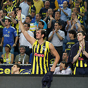 Fenerbahce's Kaya PEKER (L) and Emir PRELDZIC (R) during their Turkish Basketball Legague Play-Off final fifth match Fenerbahce between Galatasaray at the Sinan Erdem Arena in Istanbul Turkey on Tuesday 14 June 2011. Photo by TURKPIX