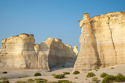 Monument Rocks National Natural Landmark, an area of  eroded chalk formations on the Great Plains, near Scott City, Kansas, USA, on a beautiful summer evening.
