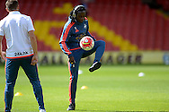 Marvin Emnes of Swansea City during pre match warm up. Barclays Premier League, Watford v Swansea city at Vicarage Road in London on Saturday 12th September 2015.<br /> pic by John Patrick Fletcher, Andrew Orchard sports photography.