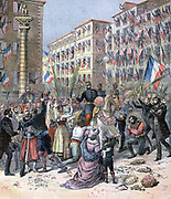 Second War of Italian Independence, Franco-Austrian War:  French troops welcomed into Milan 8 June 1859, having helped Italy to independence. From 'Le Petit Journal', Paris, 13 May 1893. Europe, Conflict, Nation