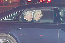 The Prince of Wales and the Duchess of Cornwall arrive at Buckingham Palace in London for Charles' 70th birthday party.