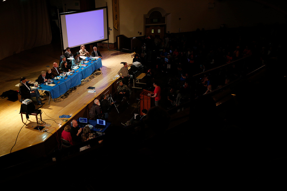 """community meeting on the housing project often referred by critics as the """"Monster in the Mission,"""" on Thursday, Feb. 7, 2019, in San Francisco, Calif. The public meeting was held at Mission High School to hear public reaction on the housing project for 1979 Mission Street."""