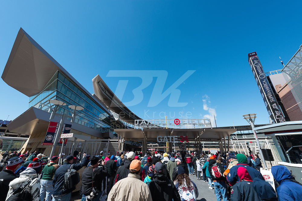 The gates at Target Field open on Opening Day 2013, Minnesota Twins vs. Detroit Tigers on April 1, 2013 in Minneapolis, Minnesota.  The Tigers defeated the Twins 4 to 2.  Photo: Ben Krause