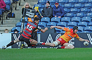 28.02.16 -  Edinburgh v Scarlets  - Guinness PRO12, Murrayfield Stadium, Edinburgh.<br /> <br /> Edinburgh's Blair Kinghorn can't stop James Davies scoring Scarlets 2nd try.<br /> <br /> <br /> <br /> <br /> <br />  Neil Hanna Photography<br /> www.neilhannaphotography.co.uk<br /> 07702 246823