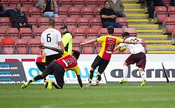 Hearts Tony Watt scoring their second goal. Partick Thistle 1 v 2 Hearts, Ladbrokes Premiership match played 27/89/2016 at Firhill.