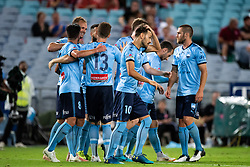 December 15, 2018 - Sydney, NSW, U.S. - SYDNEY, NSW - DECEMBER 15: Sydney FC celebrate the goal of Sydney FC midfielder Siem de Jong (22) at the Hyundai A-League Round 8 soccer match between Western Sydney Wanderers FC and Sydney FC at ANZ Stadium in NSW, Australia on December 15, 2018. (Photo by Speed Media/Icon Sportswire) (Credit Image: © Speed Media/Icon SMI via ZUMA Press)