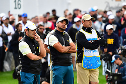 September 30, 2017 - Jersey City, New Jersey, U.S - Louis Oosthuizen of the International Team and Jason Day of the International Team during Saturday matches of the Presidents Cup at Liberty National Golf Club in Jersey City, NJ  (Credit Image: © Brian Ciancio via ZUMA Wire)