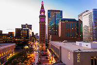The 16th Street Mall (pedestrian street) and the D&F Tower, Downtown Denver, Colorado USA.