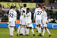Nathan Dyer of Swansea city © celebrates after he scores his teams 2nd goal. The Emirates FA Cup, 5th round replay match, Swansea city v Sheffield Wednesday at the Liberty Stadium in Swansea, South Wales on Tuesday 27th February 2018.<br /> pic by  Andrew Orchard, Andrew Orchard sports photography.
