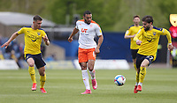 Blackpool's Keshi Anderson gets in between Oxford United's Cameron Brannagan and Elliot Lee<br /> <br /> Photographer Rob Newell/CameraSport<br /> <br /> Sky Bet League One Play-Off Semi-Final 1st Leg - Oxford United v Blackpool - Tuesday 18th May 2021 - Kassam Stadium - Oxford<br /> <br /> World Copyright © 2021 CameraSport. All rights reserved. 43 Linden Ave. Countesthorpe. Leicester. England. LE8 5PG - Tel: +44 (0) 116 277 4147 - admin@camerasport.com - www.camerasport.com