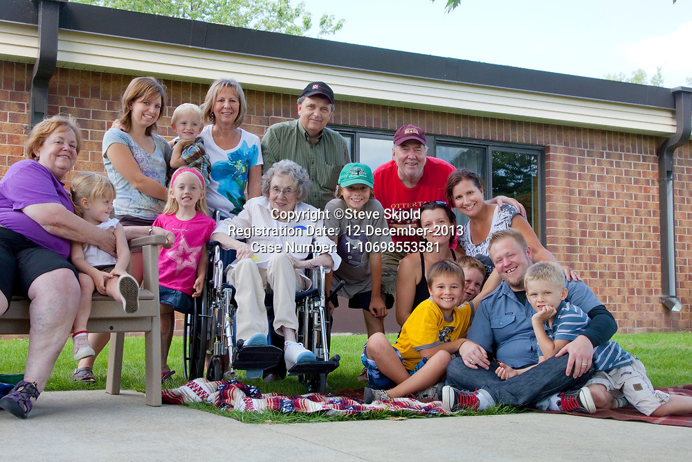 Photographer Steve Skjold's photo of his mom age 96 and her family of four generations.