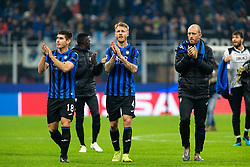 November 26, 2019, Milano, Italy: rusland malinovskyi (atalanta) and simon kjaer (atalanta) salutano the pubblicoduring Tournament round - Atalanta vs Dinamo Zagreb , Soccer Champions League Men Championship in Milano, Italy, November 26 2019 - LPS/Francesco Scaccianoce (Credit Image: © Francesco Scaccianoce/LPS via ZUMA Wire)