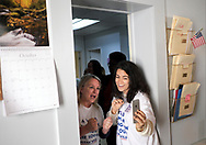Broad City co-creator Abbi Jacobson films an Instagram story with Susan Wild, Democratic candidate for Pennsylvania's new 7th Congressional District, during a canvass launch event at Wild's campaign office in Allentown, Pennsylvania.