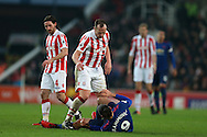 Charlie Adam of Stoke city argues with Zlatan Ibrahimovic of Manchester Utd.  Premier league match, Stoke City v Manchester Utd at the Bet365 Stadium in Stoke on Trent, Staffs on Saturday 21st January 2017.<br /> pic by Andrew Orchard, Andrew Orchard sports photography.