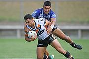 Wests Tigers David Nofoaluma scores a try in the NRL Trial, Vodafone Warriors v Wests Tigers, Rotorua Stadium, Rotorua, Sunday, March 01, 2020. Copyright photo: Kerry Marshall / www.photosport.nz