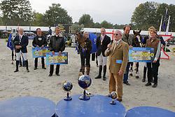 Podium 7 jarigen<br /> 1 Michael Greeve - Ubalia<br /> 2 Willem Greve - Uceline<br /> 3 Gerben Morsink - Zekina Z <br /> World Championship Young Horses Lanaken 2007<br /> Photo Copyright Hippo Foto