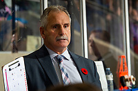 KELOWNA, BC - NOVEMBER 8:  Medicine Hat Tigers' head coach Willie Desjardins stands on the bench against the Kelowna Rockets at Prospera Place on November 8, 2019 in Kelowna, Canada. (Photo by Marissa Baecker/Shoot the Breeze)
