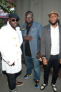 """June 2, 2012- Philadelphia, PA, United States: (L-R) Recording Artist Black Thought (ROOTS), Recording Artist Truck North and Recording Artist Yasiin Bey attends the 5th Annual ROOTS Picnic held at Festival Pier at Penn's Landing in Philadelphia, PA . The Roots is an American hip hop/neo soul band formed in 1987 by Tariq """"Black Thought"""" Trotter and Ahmir """"Questlove"""" Thompson in Philadelphia, Pennsylvania. They are known for a jazzy, eclectic approach to hip hop which includes live instrumentals. (Photo by Terrence Jennings)"""