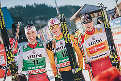 11.01.2020, Stadio del Fondo, Lago di Tesero, ITA, FIS Weltcup Nordische Kombination, Langlauf, im Bild 2. Platz Joergen Graabak (NOR), Sieger Vinzenz Geiger (GER), Jarl Magnus Riiber (NOR) // 2. Platz Joergen Graabak (NOR), Sieger Vinzenz Geiger (GER), Jarl Magnus Riiber (NOR) during Cross Country Competition of FIS Nordic Combined World Cup at the Stadio del Fondo in Lago di Tesero, Italy on 2020/01/11. EXPA Pictures © 2020, PhotoCredit: EXPA/ JFK