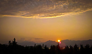 sunset over the Hood Canal and Olympic Mountains from the Kitsap Peninsula, Puget Sound, WA, USA
