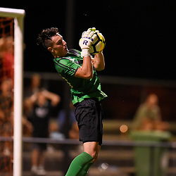 BRISBANE, AUSTRALIA - JANUARY 27: Tomislav Mersaric of the Strikers collects the ball during the Kappa Silver Boot Grand Final match between Lions FC and Brisbane Strikers on January 27, 2018 in Brisbane, Australia. (Photo by Patrick Kearney)