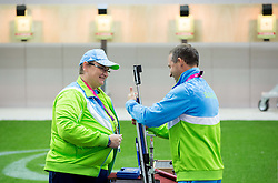 Damjan Pavlin and Ales Kosmac of Slovenia after the Men's R5-10m Air Rifle Prone shooting Qualifications during Day 4 of the Summer Paralympic Games London 2012 on September 1, 2012,  in Royal Artillery Barracks, London, Great Britain. (Photo by Vid Ponikvar / Sportida.com)