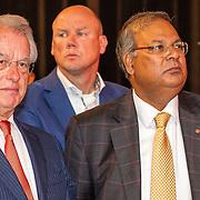 NLD/Scheveningen/20160713 - Perspresentatie sporters voor de Olympische Spelen 2016 in Rio de Janeiro, Jozias van Aartsen en wethouder Rabin Baldewsingh