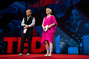 Host Helen Walters and Chris Anderson speak at TED2019: Bigger Than Us. April 15 - 19, 2019, Vancouver, BC, Canada. Photo: Bret Hartman / TED