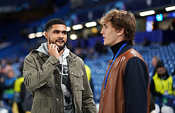 Alexander Zverev (right) and Chelsea's Ruben Loftus-Cheek pitchside before the UEFA Champions League Group H match at Stamford Bridge, London.