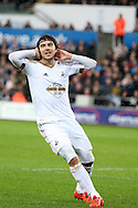 Alberto Paloschi of Swansea city reacts in frustration after being caught offside. Barclays Premier league match, Swansea city v Crystal Palace at the Liberty Stadium in Swansea, South Wales on Saturday 6th February 2016.<br /> pic by Andrew Orchard, Andrew Orchard sports photography.