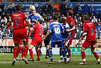 Photo: Steve Bond/Richard Lane Photography. <br />Leicester City v Colchester United. Coca Cola Championship. 12/04/2008. Steve Howard (C,L) gets his head to the ball in a crowded penalty area