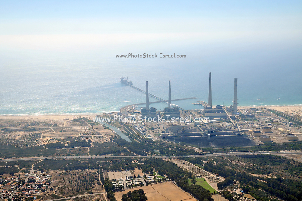 Aerial Photography of the Orot Rabin coal operated power plant, Hadera, Israel