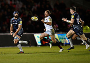 Sale Sharks No.8 Josh Strauss feeds the ball to stand-off Sam James during the Aviva Premiership match Sale Sharks -V- Saracens at The AJ Bell Stadium, Salford, Greater Manchester, England on Friday, February 16, 2018. (Steve Flynn/Image of Sport)