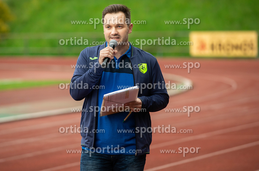 Srecko Ferlez during celebration of NK Bravo, winning team in 2nd Slovenian Football League in season 2018/19 after they qualified to Prva Liga, on May 26th, 2019, in Stadium ZAK, Ljubljana, Slovenia. Photo by Vid Ponikvar / Sportida