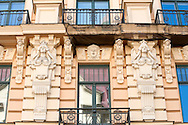 Art Nouveau architecture in Riga, Latvia (May 2016). Pictured, a detail of the facade of Alberta iela 13. © Rudolf Abraham