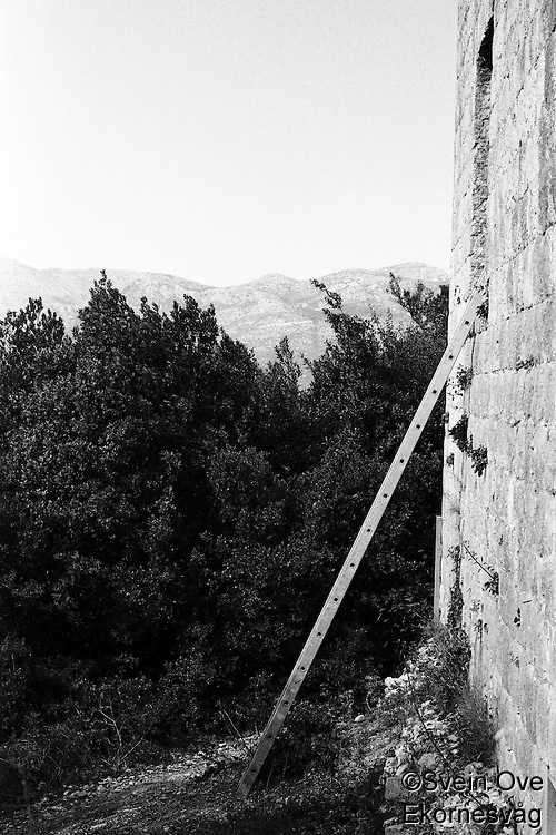 Kroatia 2012-06.<br /> En stige står inntil en gammel bygning som er under renovering på Lopud i Kroatia.<br /> Foto: Svein Ove Ekornesvåg