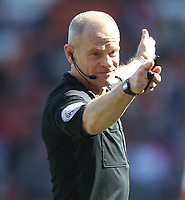 Referee Andy Woolmer<br /> <br /> Photographer Mick Walker/CameraSport<br /> <br /> The EFL Sky Bet League One - Blackpool v Fleetwood Town - Saturday 14th April 2018 - Bloomfield Road - Blackpool<br /> <br /> World Copyright © 2018 CameraSport. All rights reserved. 43 Linden Ave. Countesthorpe. Leicester. England. LE8 5PG - Tel: +44 (0) 116 277 4147 - admin@camerasport.com - www.camerasport.com